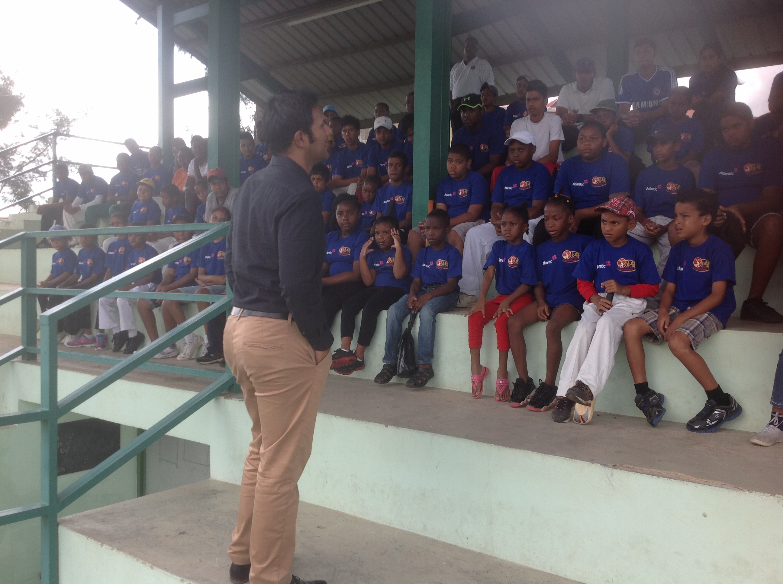Former West Indies Captain Daren Ganga speaking to the Atlantic WIC Camp Participants
