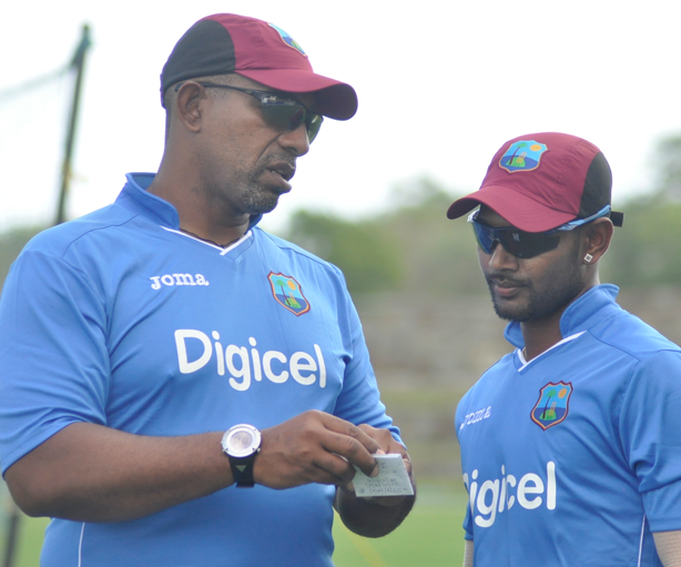 W.I. Coach Phil Simmons and W.I. Test Captain Denesh Ramdin