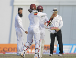 Denesh Ramdin & Jermaine Blackwood celebrating the victory