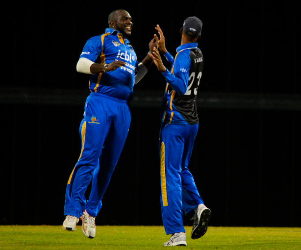 Ashley-Nurse-celebrates-a-wicket-with-Roston-Chase