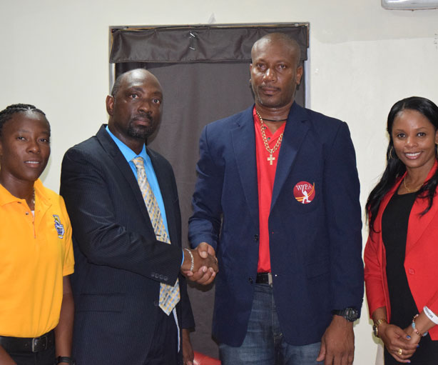 From Left to Right WIPA Member Miss Shakera Selman, SVGCC Director Mr Nigel Scott, WIPA Vice President Mr Nixon McLean and WIPA Member Miss Merissa Aguilleria