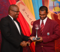 Denesh Ramdin collects the Regional Team of the Year