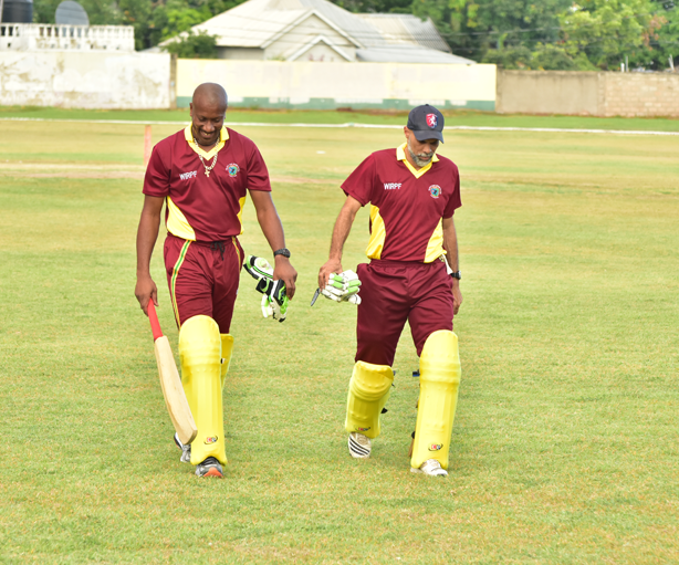 Former Windies Cricketers and now WIPA Vice President Nixon McLean and CWI Director of Cricket Jimmy Adams