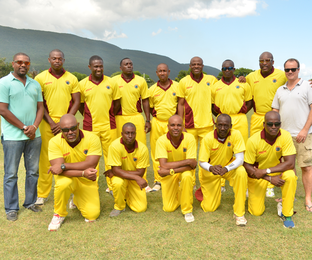 Jimmy Adams XI with CWI President Dave Cameron & CWI CEO Johnny Grave