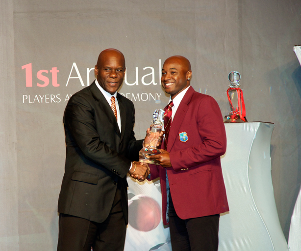 Tino Best collects on behalf of the Under 19 Team of the Year